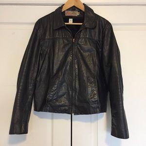 Vintage Leather Jacket w/Liner, Size 38, Black